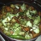 revuelto de pollo con verduras
