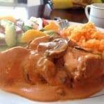 pollo con champiñones y crema