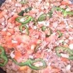carne deshebrada con verduras