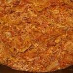 Pollo deshebrado en salsa borracha
