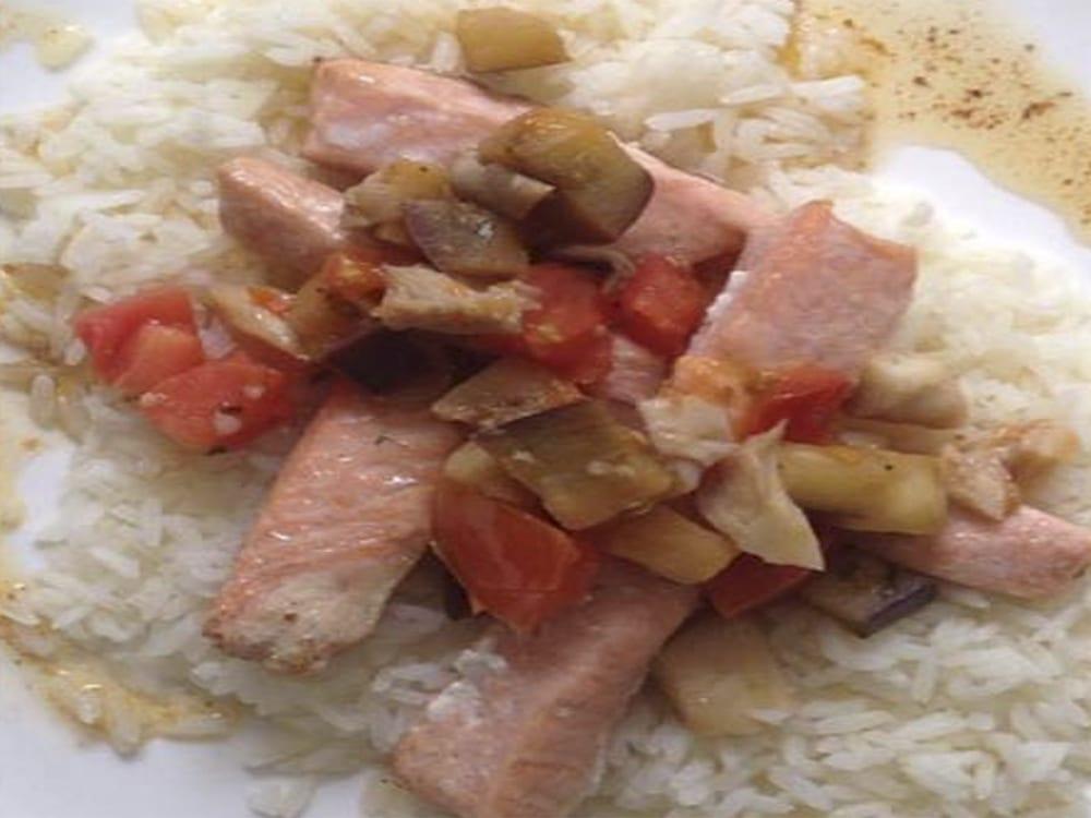 receta de salmon con berenjenas