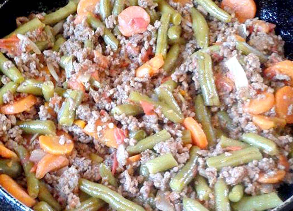 Receta de carne molida con ejote y zanahoria