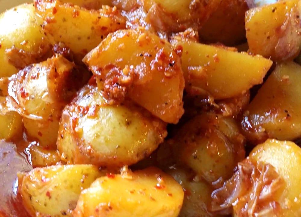 Receta de papas con chiles secos